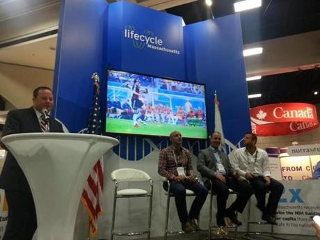 A panel was underway in the Massachusetts pavilion as the US-Germany World Cup game played in the background.